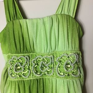 My Michelle Sparkly Green Beaded Dress